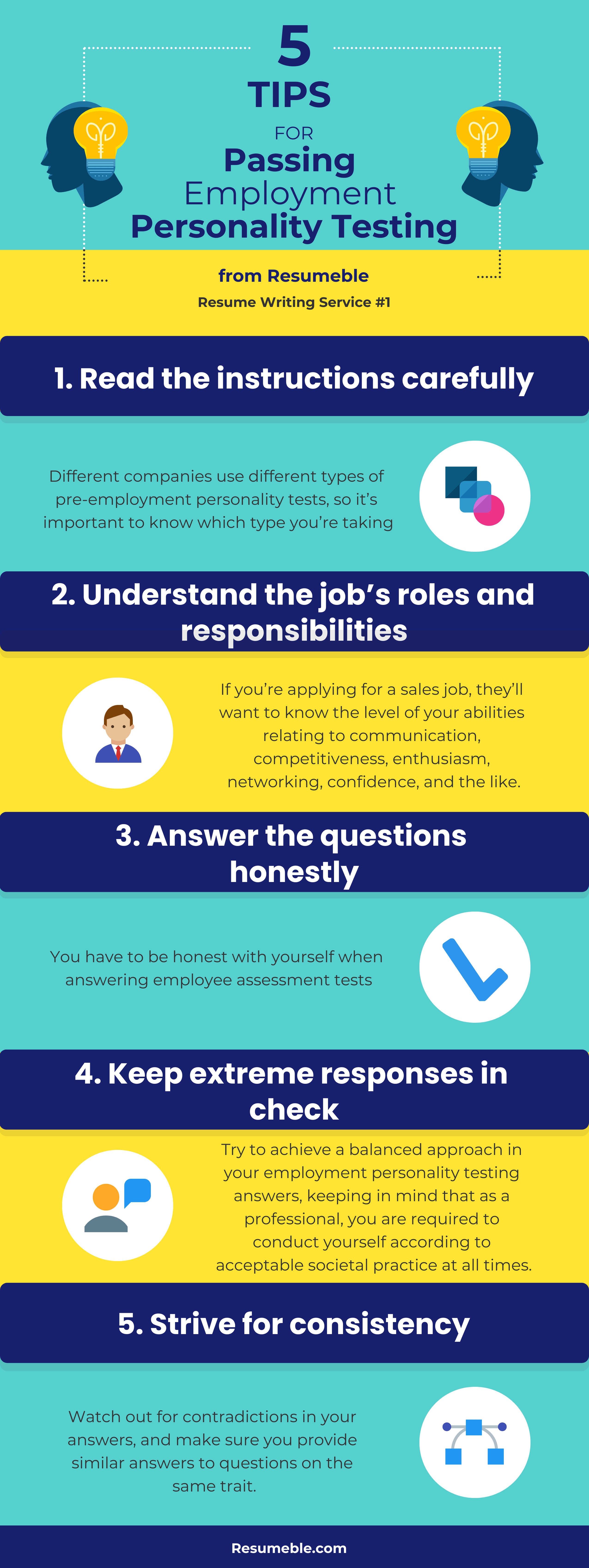 pre-employment personality test tips infographic