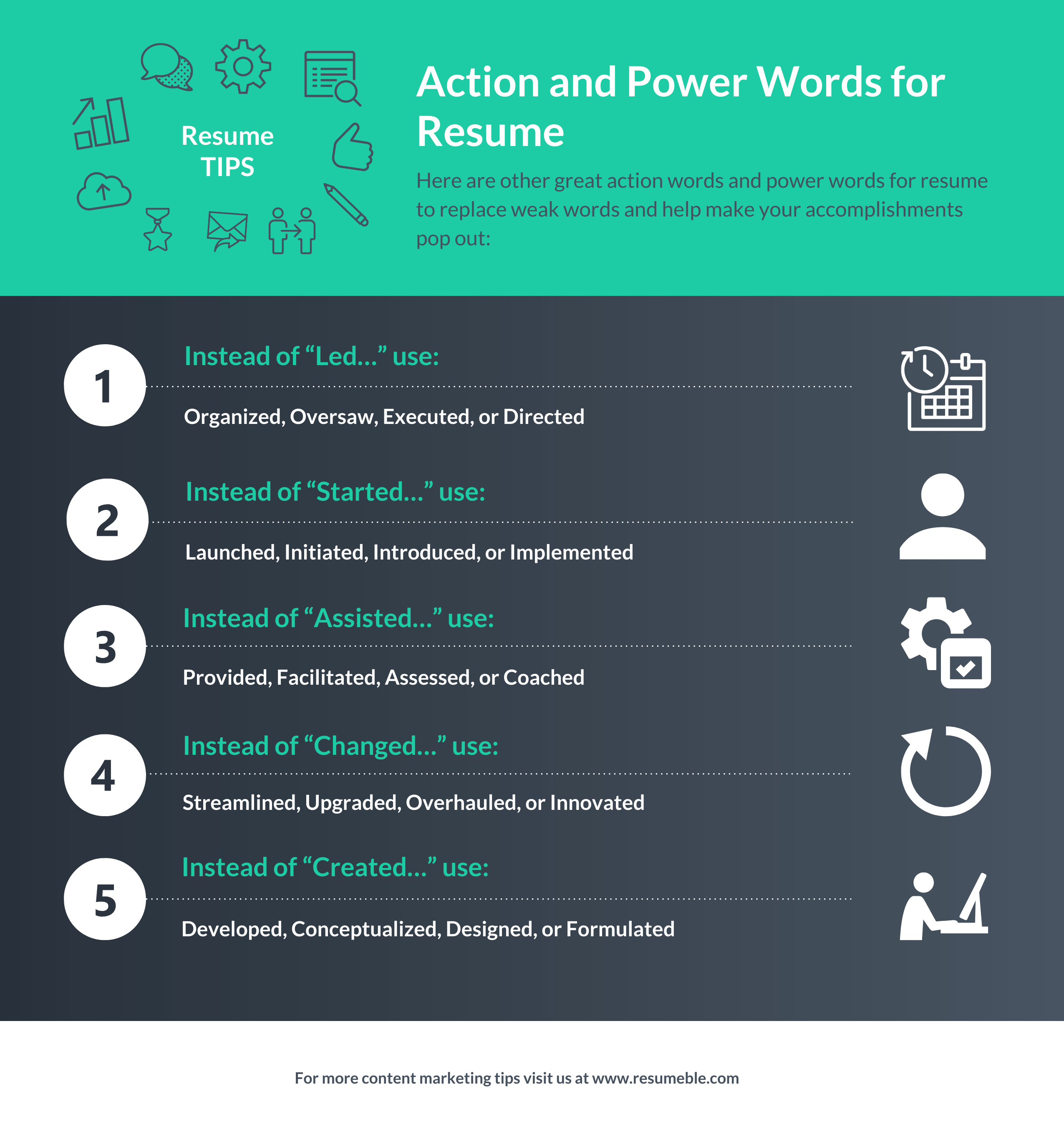 action verbs for resume infographic